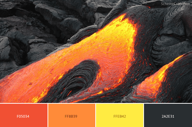 Lava on Black Rock - Image colors combination