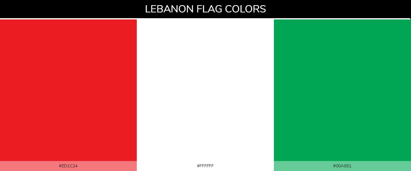 Lebanon country flag color codes - Red #ed1c24, White #ffffff, Green #00a651