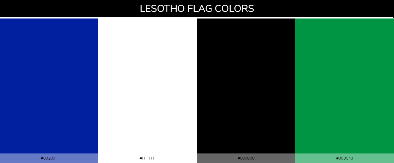 Lesotho country flag color codes - Blue #00209f, White #ffffff, Black #000000, Green #009543