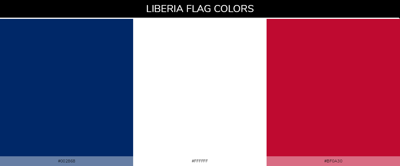 Liberia country flag color codes - Blue #002868, White #ffffff, Red #bf0a30