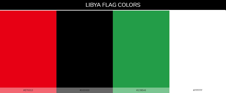 Libya country flag color codes - Red #e70013, Black #000000, Green #239e46, White #ffffff