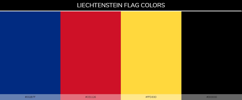 Liechtenstein country flag color codes - Blue #002b7f, Red #ce1126, Yellow #ffd83d, Black #000000