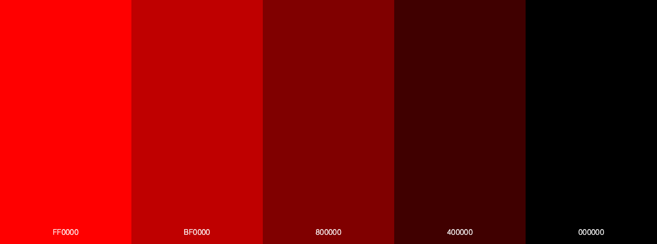 Light Red To Dark Red color palette