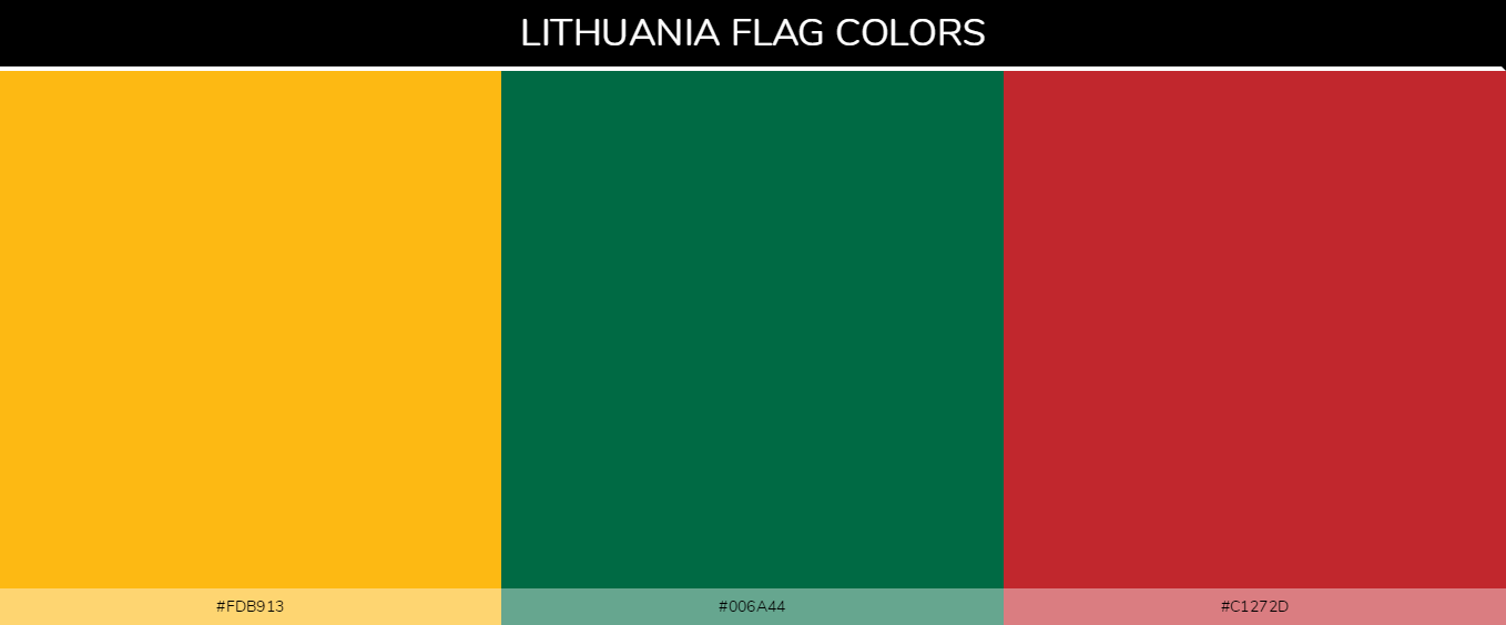 Lithuania country flag color codes - Yellow #fdb913, Green #006a44, Red #c1272d