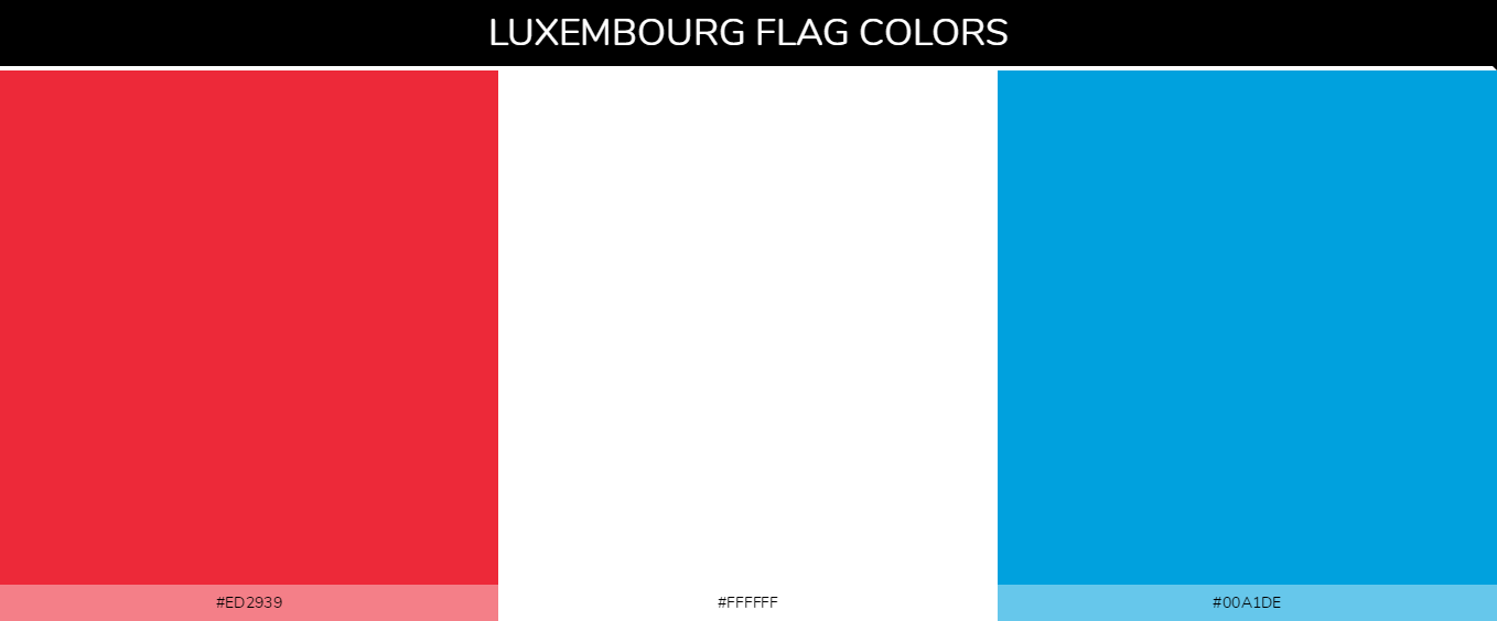 Luxembourg country flag color codes - Red #ed2939, White #ffffff, Light Blue #00a1de