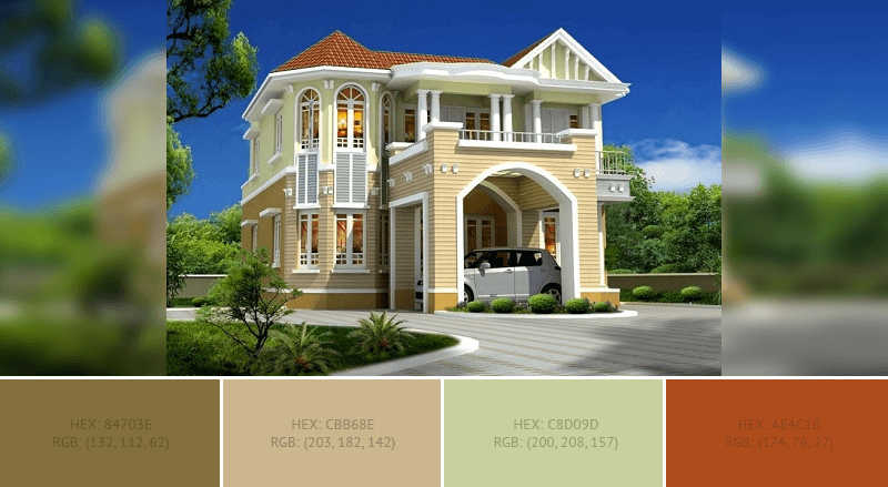 This lovely House Exterior has 4 colors combination with Raw Umber, Tan, Dark Vanilla and Rust.