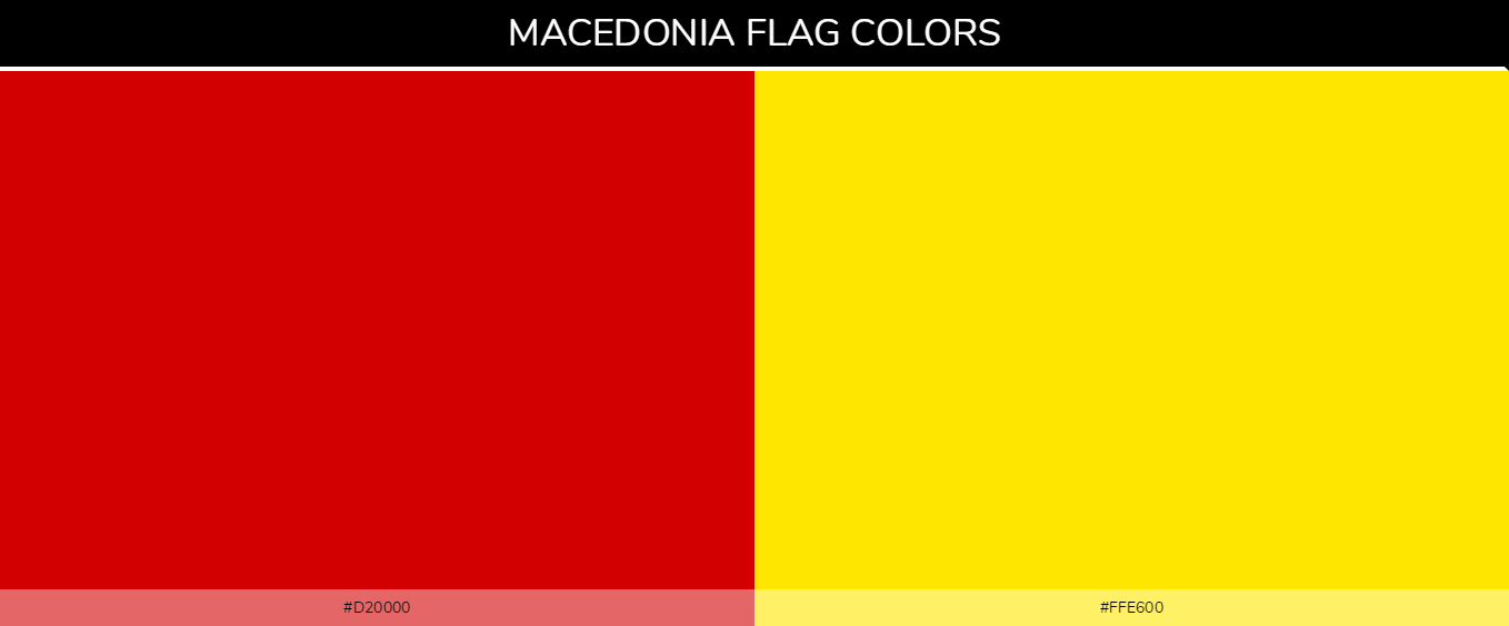 Macedonia country flag color codes - Red #d20000, Yellow #ffe600