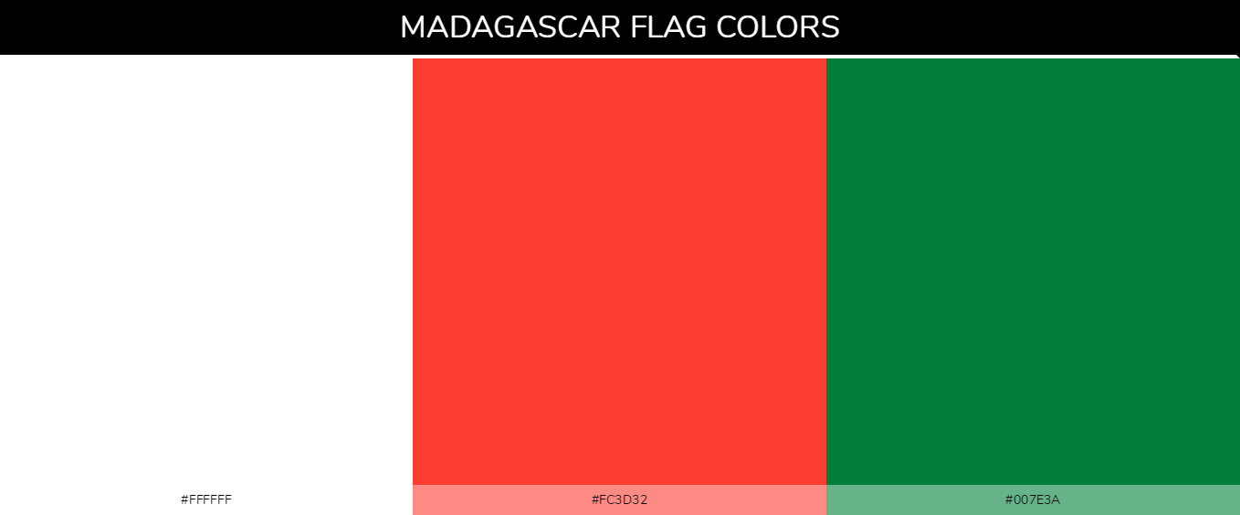 Madagascar country flags color codes - White #ffffff, Red #fc3d32, Green #007e3a