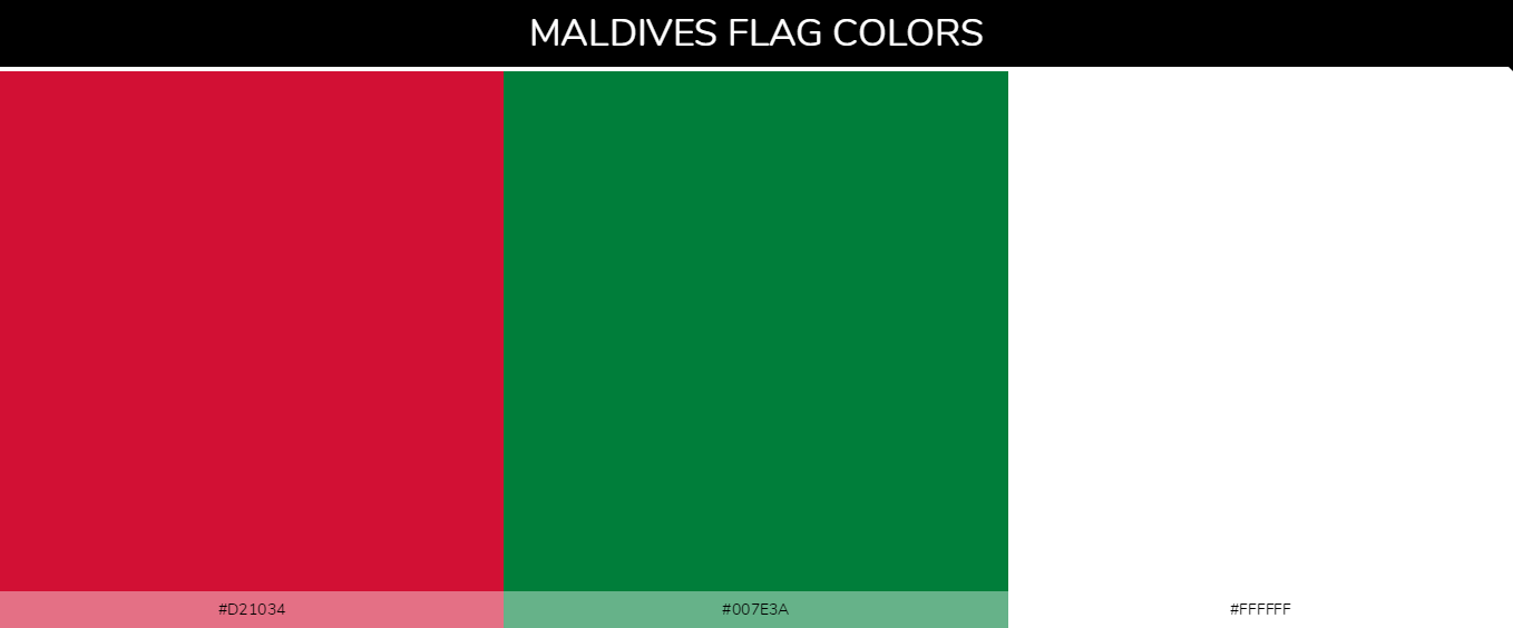 Maldives country flags color codes - Red #d21034, Green #007e3a, White #ffffff