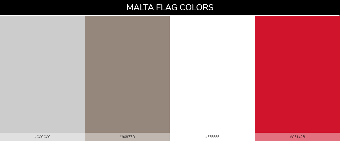 Malta country flags color codes - Gray #cccccc,Gray #96877d, White #ffffff, Red #cf142b