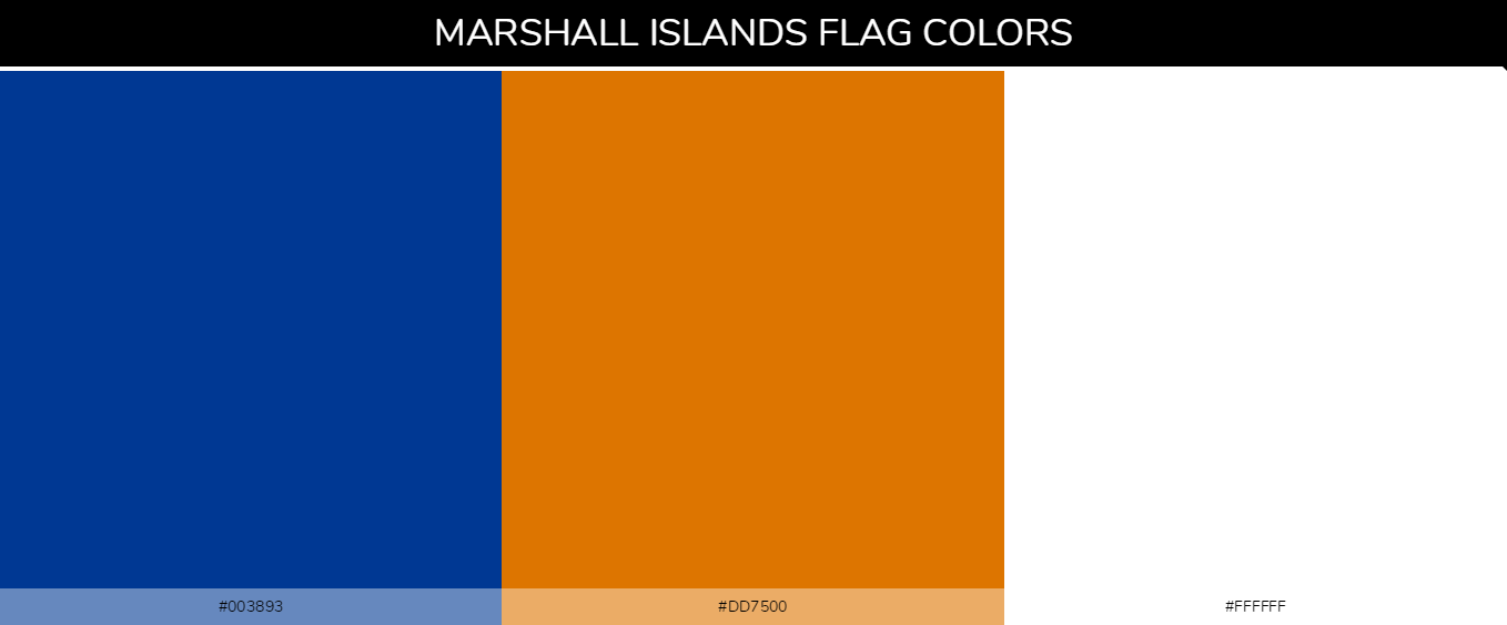 Marshall Islands country flags color codes - Blue #003893, Orange #dd7500, White #ffffff