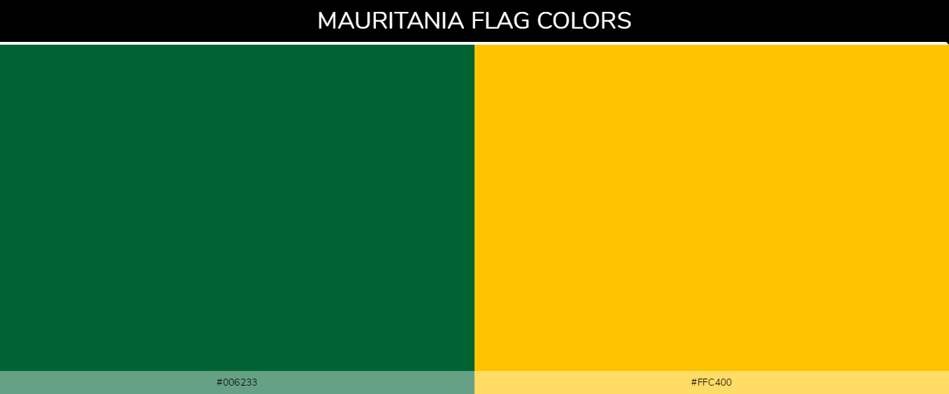 Mauritania country flags color codes - Green #006233, Yellow #ffc400