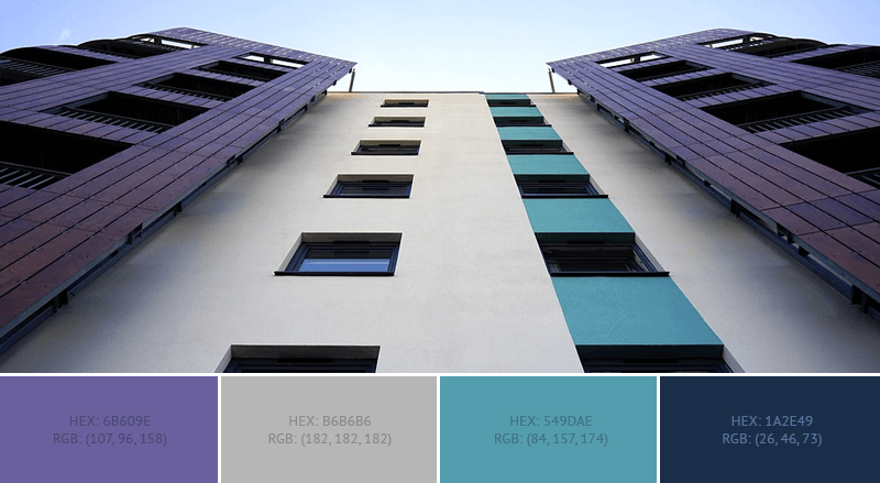 This lovely House Exterior has 4 colors combination with Dark Blue-Gray, Ash Grey, Cadet Blue and Space Cadet.