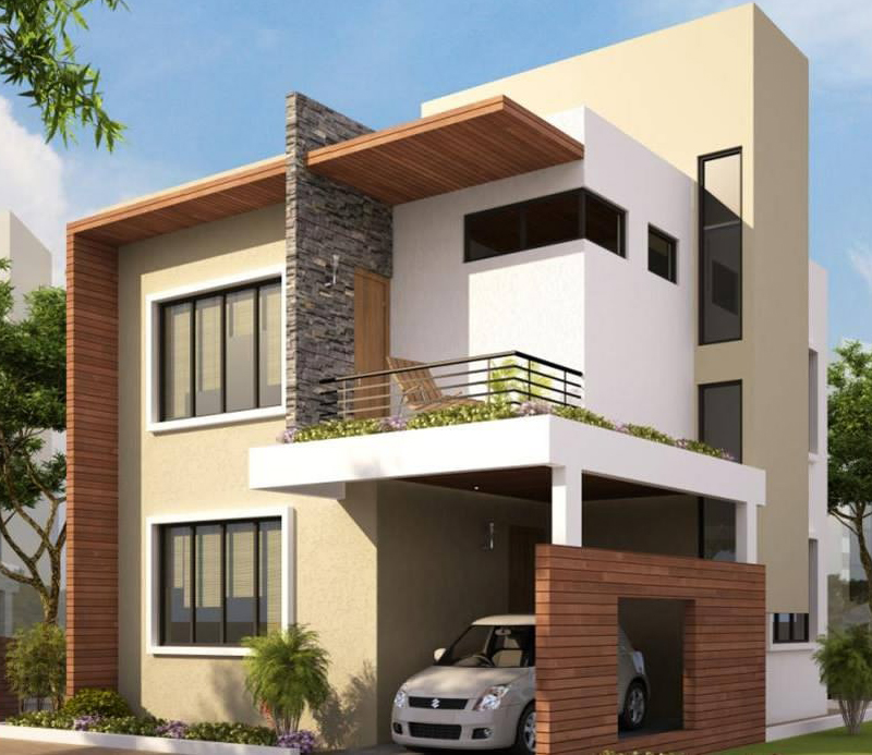 Modern color scheme house exterior for Modern exterior house entrance