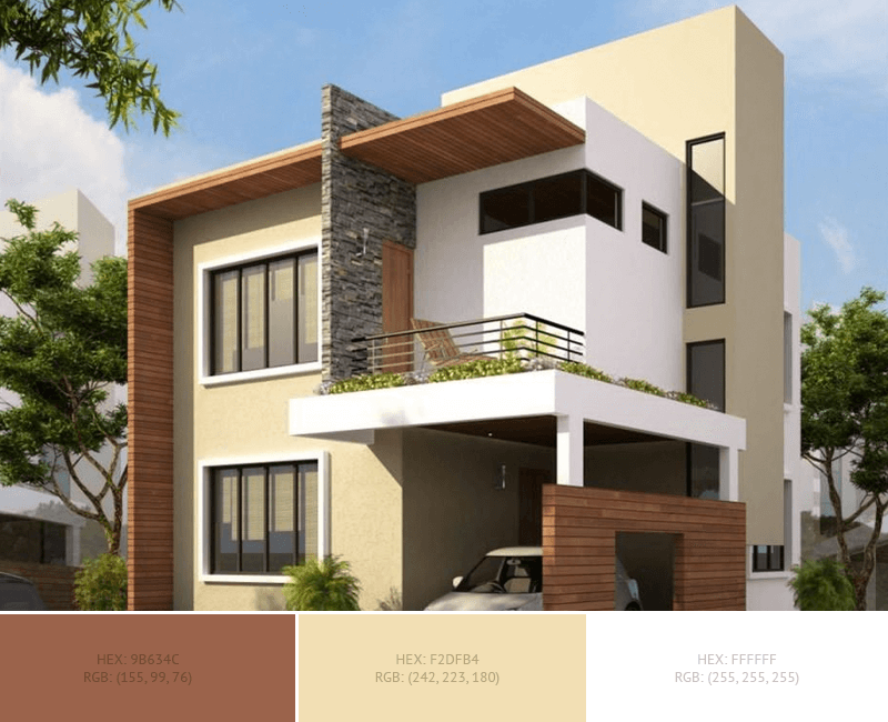 This beautiful House Exterior has 3 colors combination with Redwood, Wheat and White.