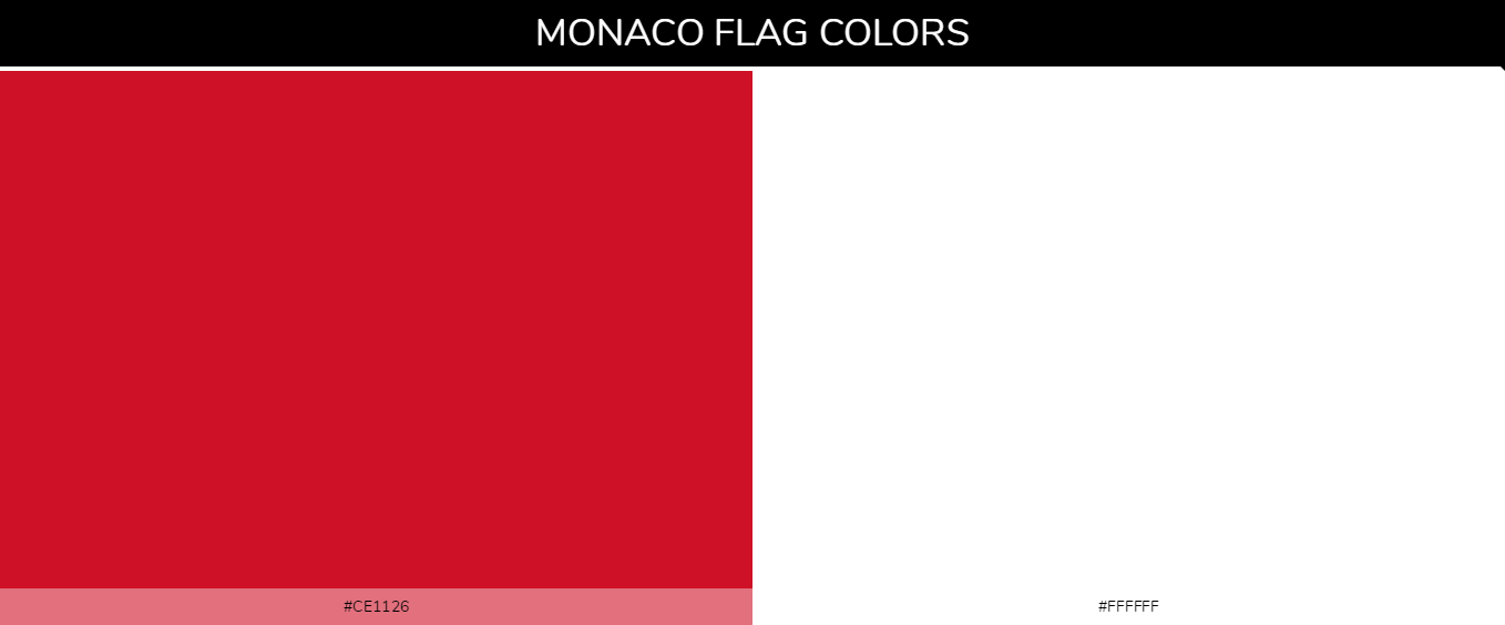 Monaco country flags color codes - Red #ce1126, White #ffffff