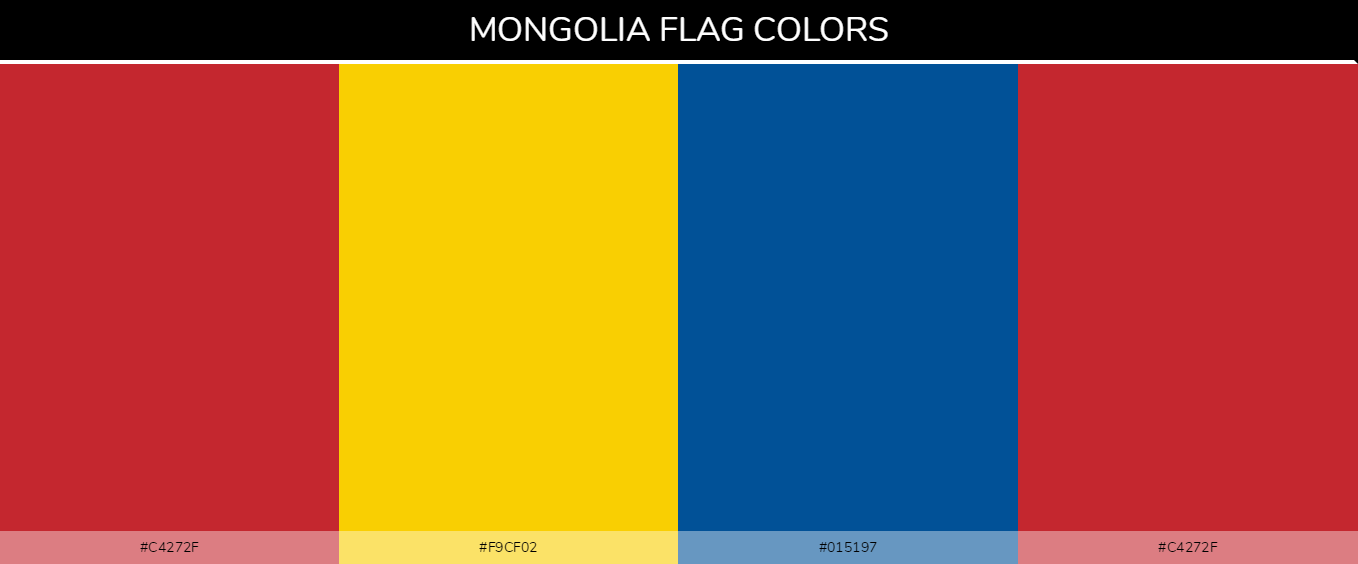 Mongolia country flags color codes - Red #c4272f, Yellow #f9cf02, Blue #015197, Red #c4272f