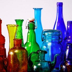 Multi-colored glass bottles