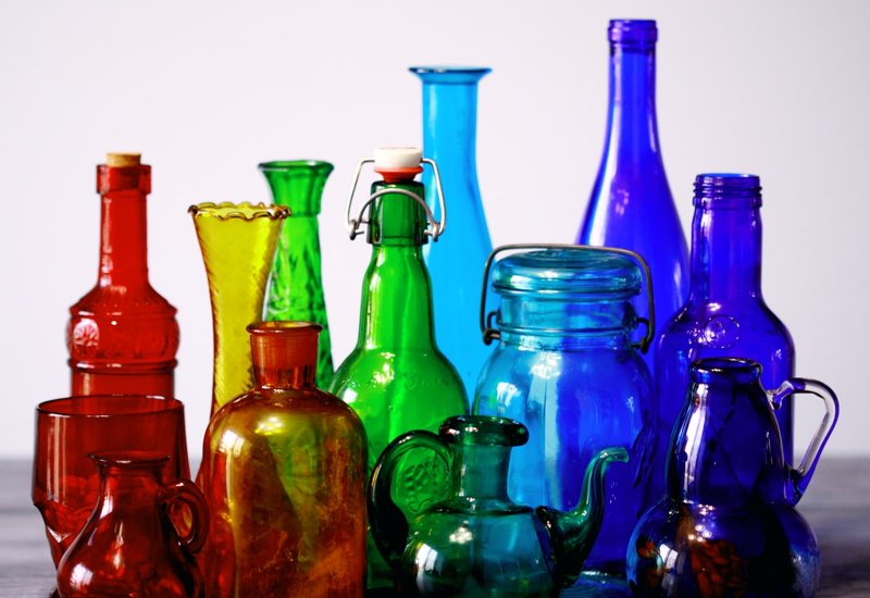 Multi-colored glass bottles