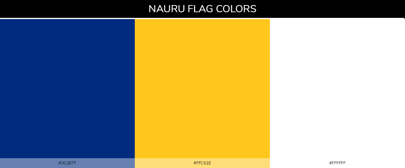 Nauru country flags color codes - Blue #002b7f, Yellow #ffc61e, White #ffffff