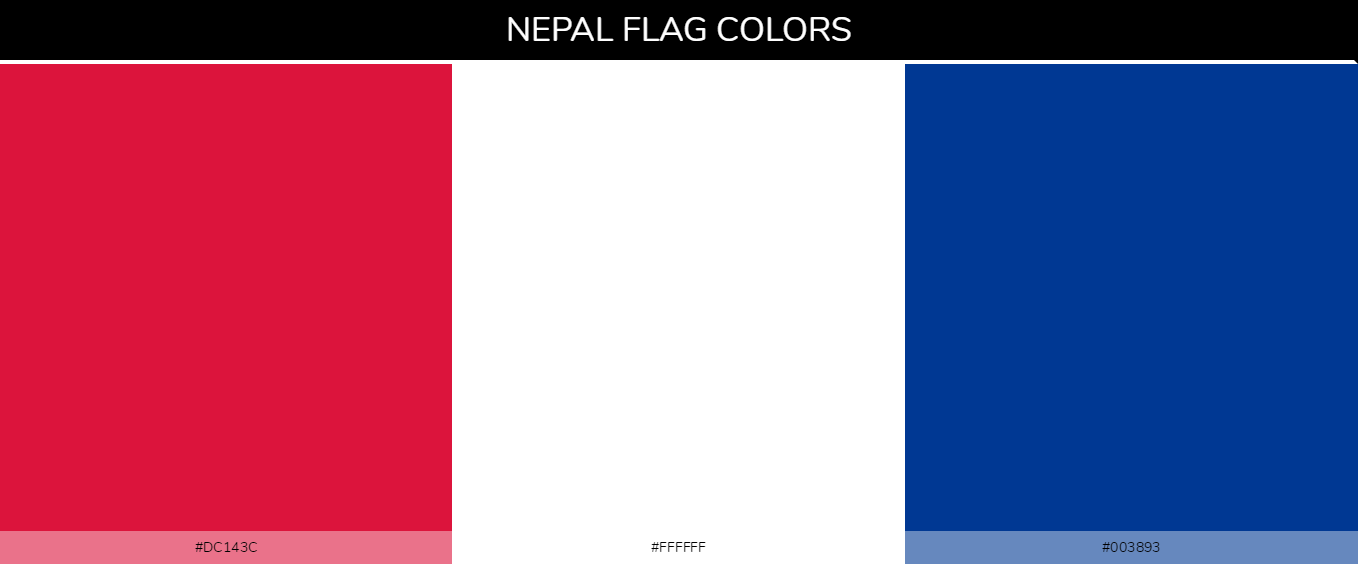 Nepal country flags color codes - Red #dc143c, White #ffffff, Blue #003893