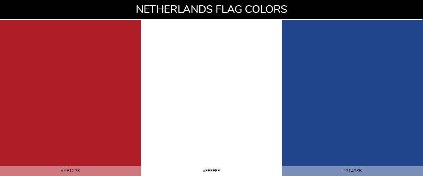 Kingdom of the Netherlands country flags color codes - Red #ae1c28, White #ffffff, Blue #21468b