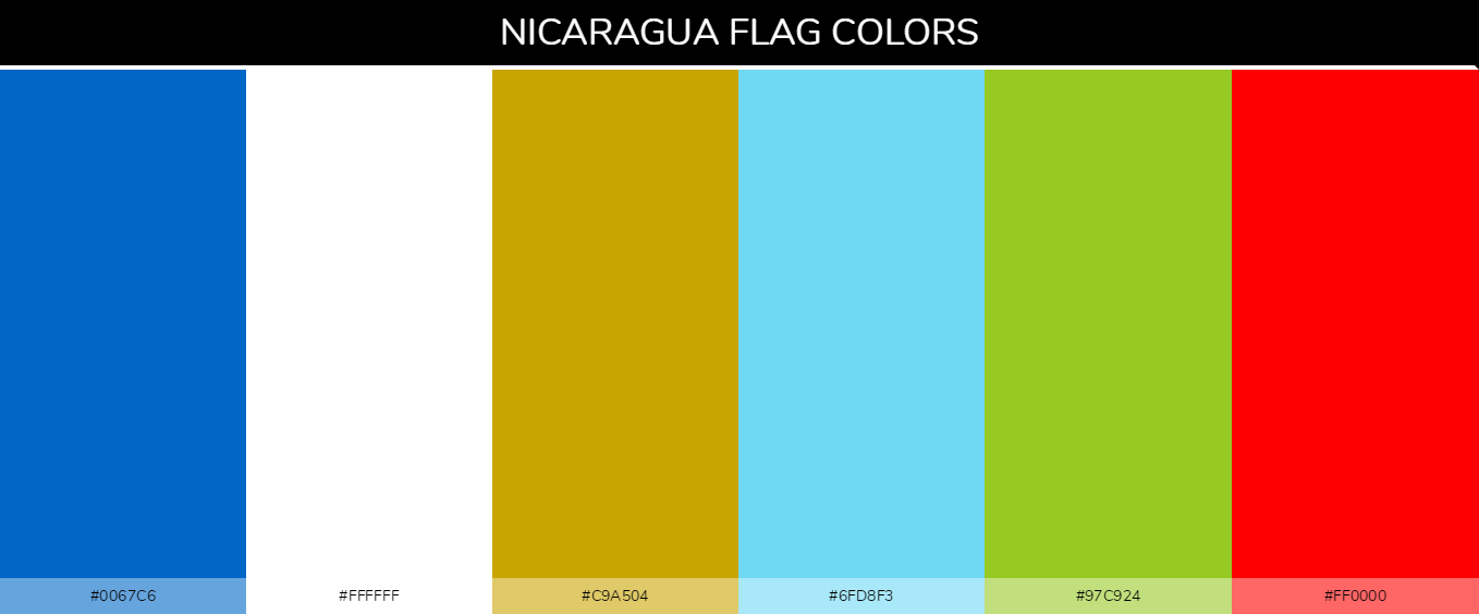 Nicaragua country flags color codes - Blue #0067c6, White #ffffff, Gold #c9a504, Light Blue #6fd8f3, Light Green #97c924, Red #ff0000