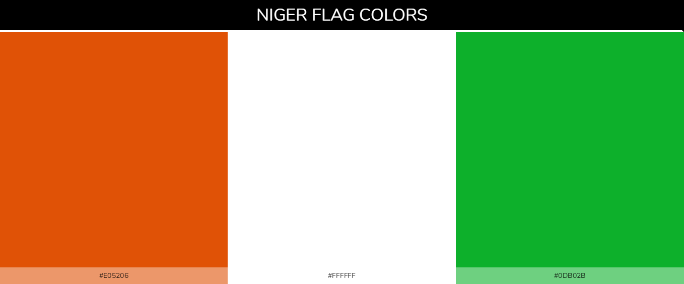 Niger country flags color codes - Orange #e05206, White #ffffff, Green #0db02b