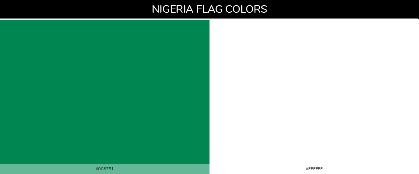 Nigeria country flags color codes - Green #008751, White #ffffff