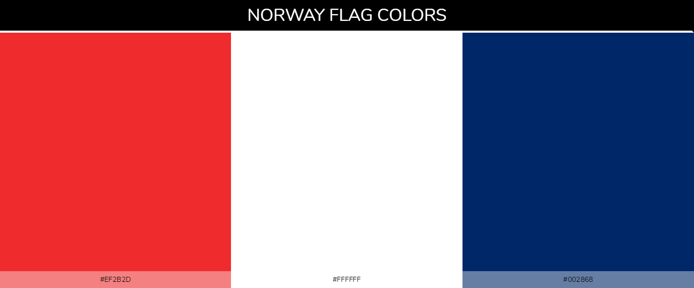 Norway country flags color codes - Red #ef2b2d, White #ffffff, Blue #002868