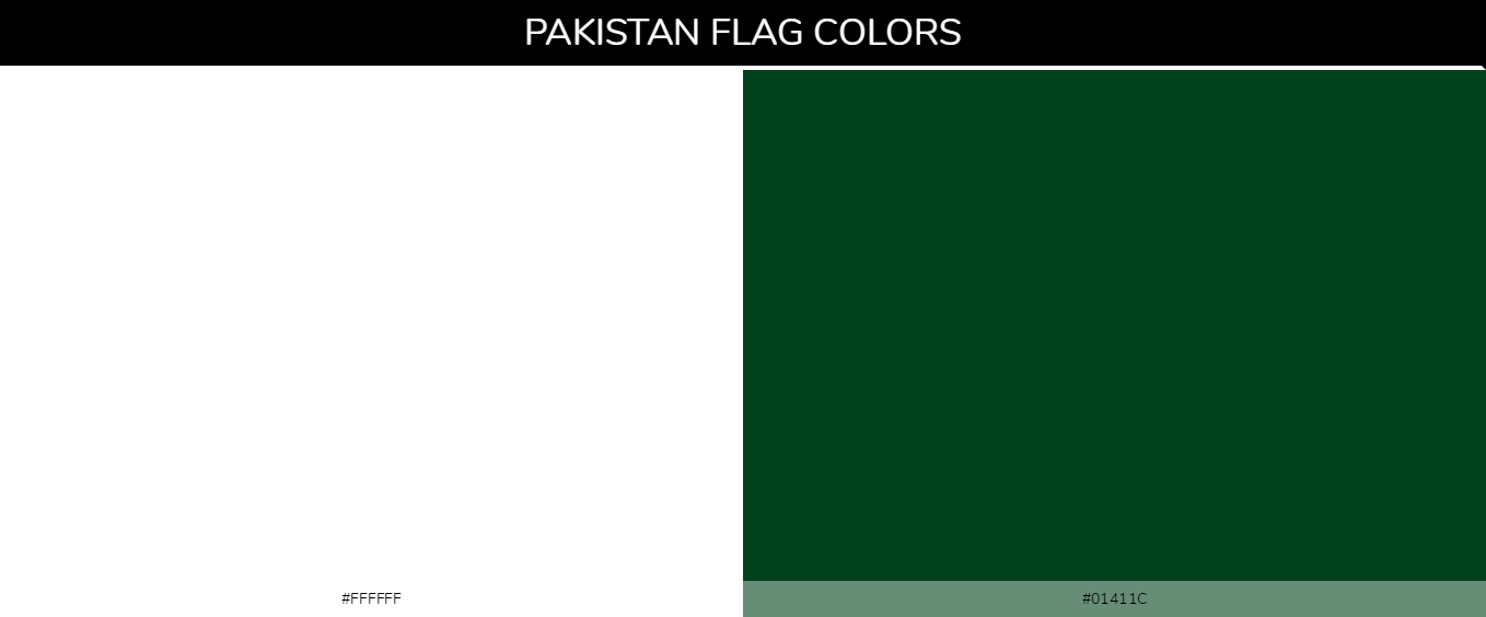 Pakistan country flags color codes - White #ffffff, Green #01411c