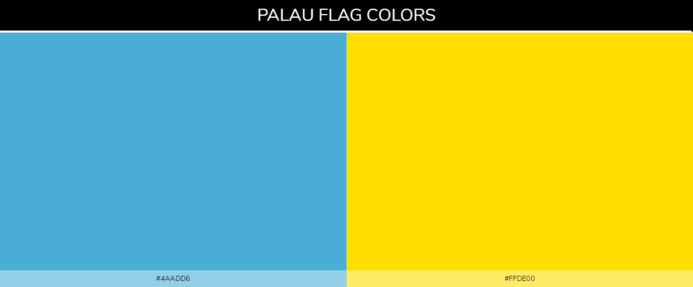 Palau country flags color codes - Light Blue #4aadd6, Yellow #ffde00