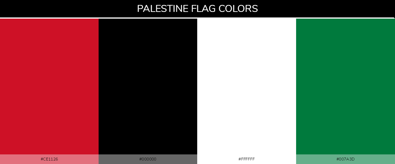 Palestine country flags color codes - Red #ce1126, Black #000000, White #ffffff, Green #007a3d