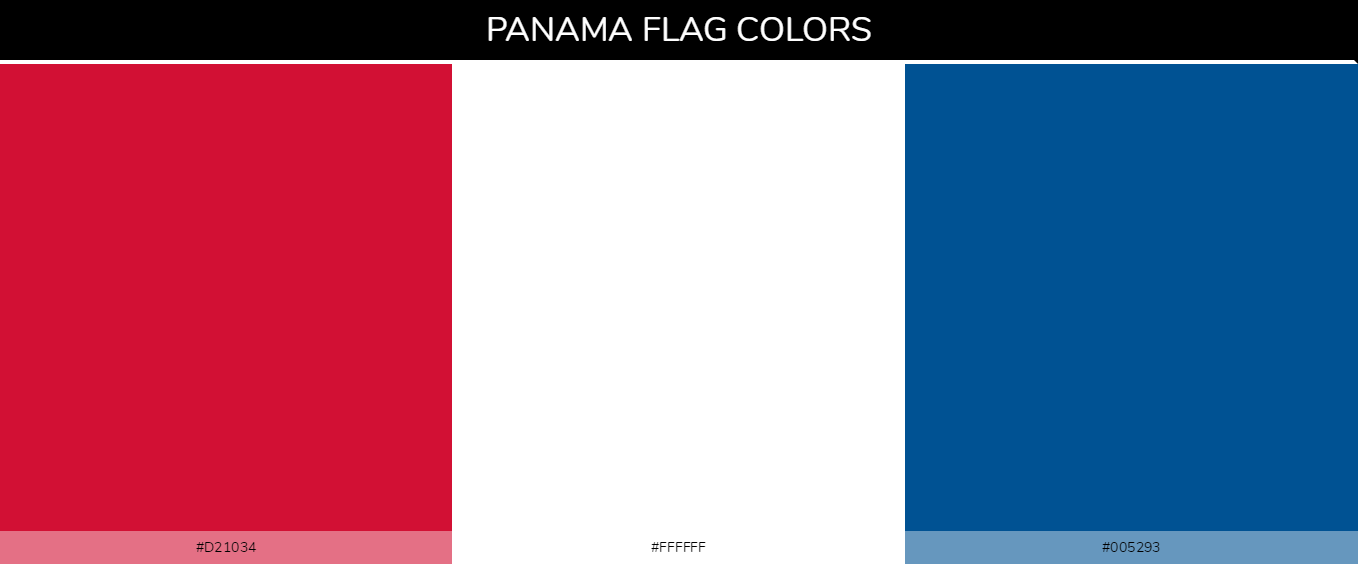 Panama country flags color codes - Red #d21034, White #ffffff, Blue #005293