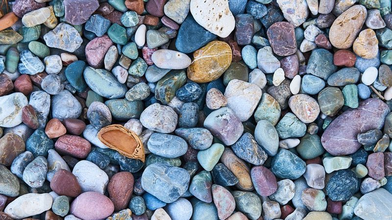 Different colored pebbles