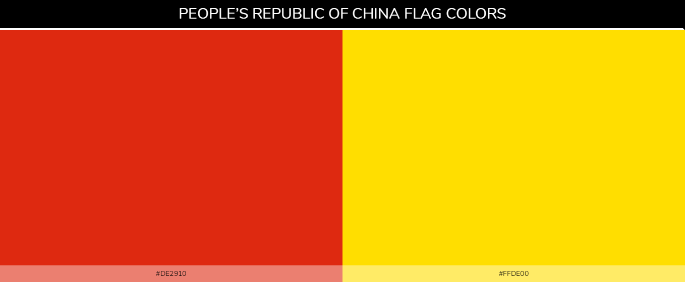 China flag color codes  - Red #de2910, Yellow #ffde00