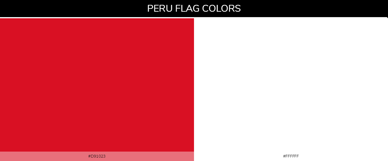 Peru country flags color codes - Red #d91023, White #ffffff