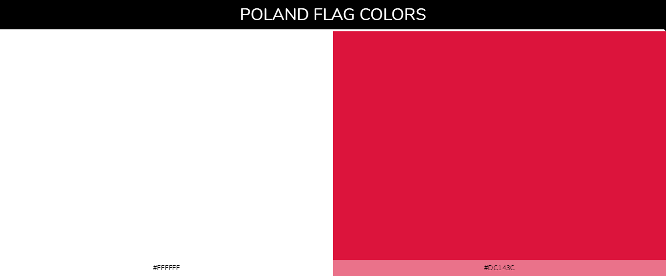 Poland country flags color codes - White #ffffff, Red #dc143c