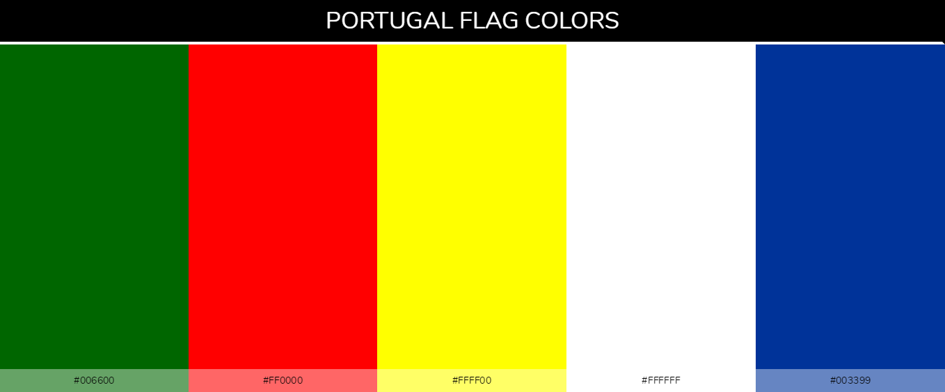 Portugal country flags color codes - Green #006600, Red #ff0000, Yellow #ffff00, White #ffffff, Blue #003399