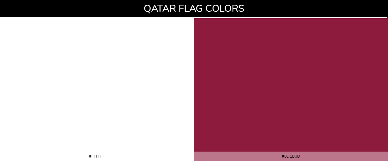 Qatar country flags color codes - White #ffffff, Maroon #8d1b3d
