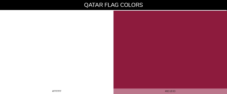 Qatar country flags color codes - White #ffffff, Maroon #8d1b3d