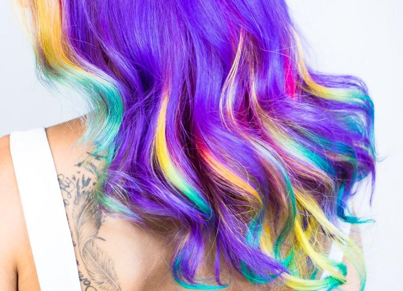Rainbow colors in hair