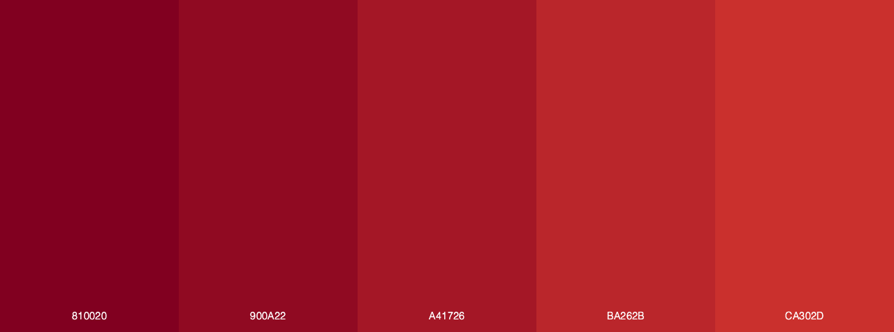 Red to burgundy color palette
