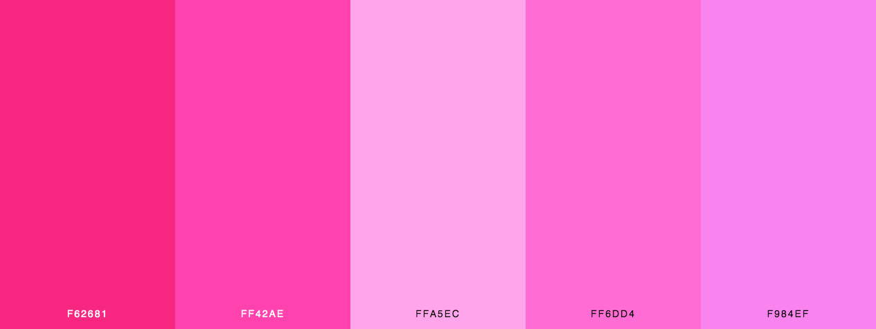 Romantic pink shades color palette