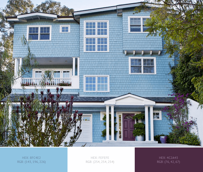 This beautiful House Exterior has 4 colors combination with Dark Sky Blue, Blue Yonder, Platinum and Imperial.