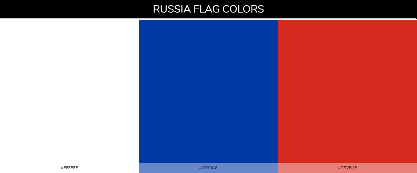 Russia country flags color codes - White #ffffff, Blue #0039a6, Red #d52b1e