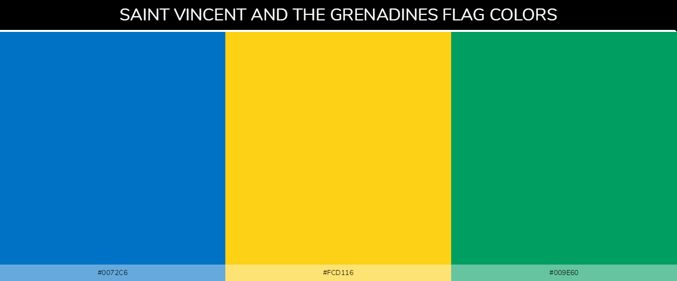 Saint Vincent and the Grenadines country flag colors codes - Blue #0072c6, Yellow #fcd116, Green #009e60