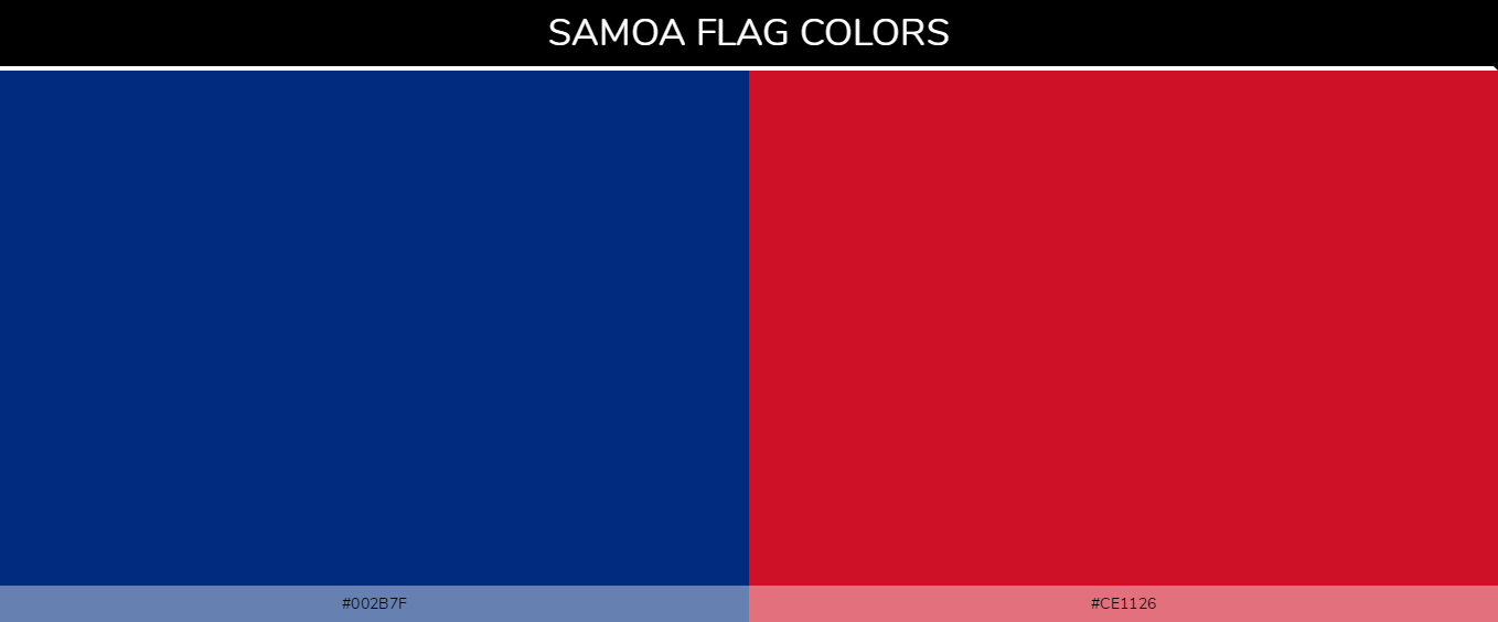 Samoa country flag colors codes - Blue #002b7f, Red #ce1126