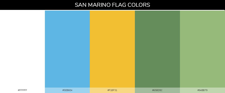 San Marino country flag color codes - White #ffffff, Light Blue #5eb6e4, Yellow #f1bf31, Green #658d5c