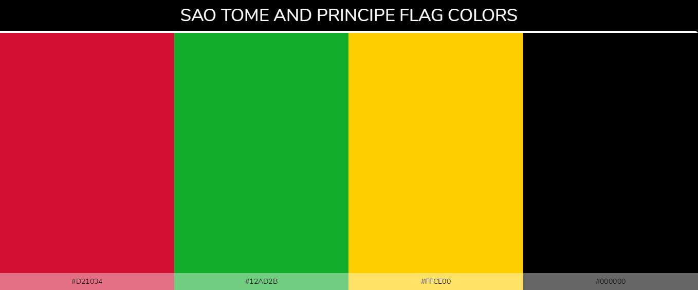 São Tomé and Príncipe country flag color codes - Red #d21034, Green #12ad2b, Yellow #ffce00, Black #000000